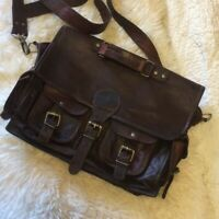 Men's USA Made Leather Vintage Messenger Shoulder Laptop Briefcase Office Bag