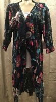 Lularoe Shirley Kimono Cover Up Blue Pink Floral Womens Medium New
