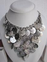 Statement Coin Fringe Necklace Choker Vintage Gypsy Boho Tribal Fashion Jewelry