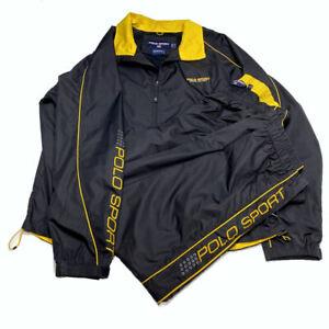 VTG Ralph Lauren Polo Sport Track Suit Jacket 2XL Pants XL Spellout Black Yellow
