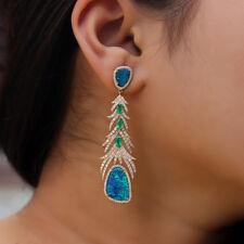 Genuine Opal Gemstone Leaf Dangle Earrings Solid 14k Yellow Gold Emerald Jewelry