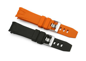 20mm/22mm Rubber Strap Curved End Watch Band Fit Orange Seamaster Planet Ocean