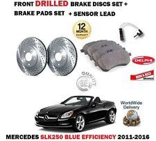 FOR MERCEDES SLK250 BLUE EFFICIENCY 2011> FRONT DRILLED BRAKE DISC SET + PAD KIT
