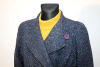 Vintage 70s ELECTRE Paris Women's Blue Long Coat Overcoat Tweed Wool Size M - L
