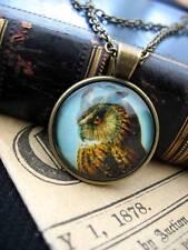 Collana Pendente Gufo Steampunk Bronzo Fantasy Gotico Pagano Wicca Bird Potter