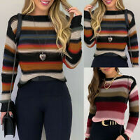 ❤️ Women's Stripe Knitted Sweater Jumper Tops Long Sleeve Casual Pullover Blouse