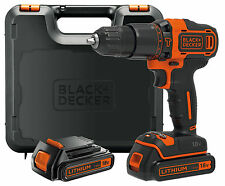 BLACK & DECKER 18V LITHIUM COMBI HAMMER DRILL DRIVER SCREWDRIVER & 2 BATTERIES