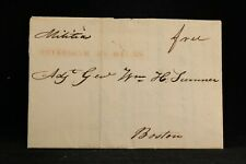Massachusetts: Petersham 1827 Stampless Cover, Red Straight Line, Military Free