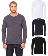 Mens Jersey Long Sleeve Henley T-shirt Top Tee - Grandad Collarless Button Neck