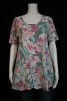 LuLaRoe Perfect T Misses SMALL Pastel Tone Floral Print Tunic Shirt Top