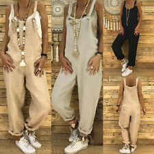 Womens Cotton Linen Jumpsuit Dungarees Ladies Loose Playsuit Overalls Trouser 80