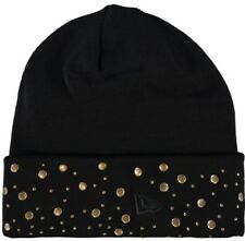 New Era: Black Gold Studded Beanie Hat{One Size}
