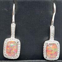 Fire Opal Dangle CZ Halo Earrings Women Engagement Jewelry 14K White Gold Plated