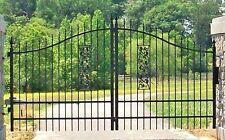 Custom Built Driveway Entry Gate 12 Ft Wide Dual Swing, Steel, Handrails, Gates