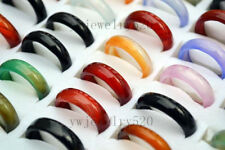 30pcs Colorful Mix Natural Agate Gemstone Jade Rings Wholesale Jewelry Lots