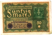 1919 Germany Weimar Republic 50 Mark Banknote