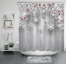 Christmas Ball Cedar Twigs Gray Wood Plank Waterproof Fabric Shower Curtain Set