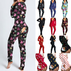 Womens Jumpsuit Pajamas Ladies Back Butt Bum Open Button Flap Pyjamas 6
