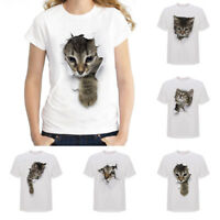 Fashion 3D Mens' Womes' Cute Cat Printed T-Shirts  Casual Cotton Tops Tee