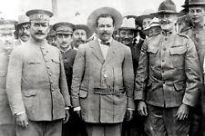 Photo-Generals Alvaro Obregon-Pancho Villa-John Pershing meet-Lt. George Patton