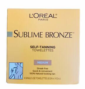 Loreal Sublime Bronze Self-Tanning Towelettes 6 MEDIUM Natural Tan Streak-Free