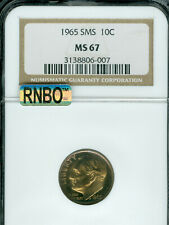 1965 ROOSEVELT DIME NGC MS-67 SMS MAC RNBO RAINBOW  .