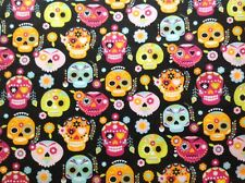 ~ FLANNEL~ Sugar Skulls~Retro~Bright~Black~Quilting~Fabric~Flannelette~Girls~ FQ
