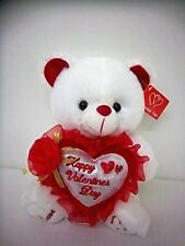 "10"" Musical White Plush Teddy Bear w/ Happy Valentine's Day on red Heart Pillow"