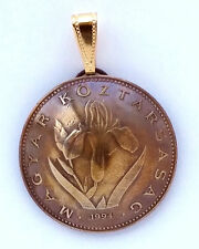 Hungary Iris 20 Forint Coin Domed Pendant Vintage Necklace Jewelry Hungarian