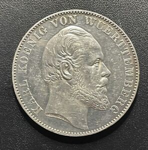 Germany (Wurttemberg) 1871 Thaler Silver Coin:  Karl I