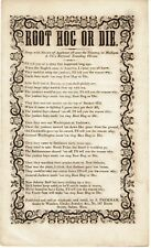 ROOT HOG OR DIE - 1854 PATRIOTIC SONG SHEET - OSTEND MANIFESTO - Joshua Peckham