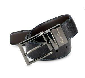 Robert Graham Mens Paisley Embossed Reversible Leather Belt Black/Brown $98
