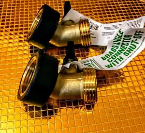 2pk Expert Gardener solid brass garden hose elbow+ shut off(walmart $12.57 each)