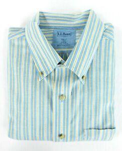 NWOT LL Bean Blue Yellow Stripe Button Down Shirt Cotton Large Oxford NEW