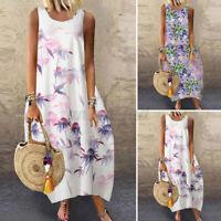Women Summer Bohemia Sleeveless Floral Print Casual Loose Kaftan Long Maxi Dress