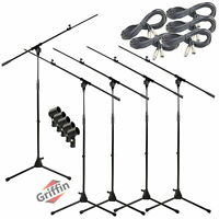Microphone Boom Stand 5PACK Lot GRIFFIN Studio XLR Cable Mic Clip Telescopic Arm