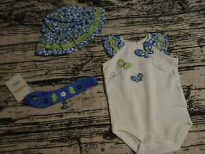 Gymboree Darling Butterfly 0-3 Month Bodysuit Hat Outlet Headband Set NWT