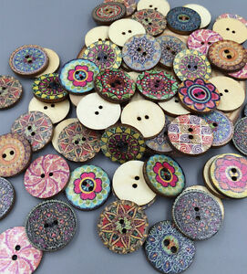 100X Vintage Style Flowers Wooden Buttons Scrapbooking Sewing Crafts wooden 20mm