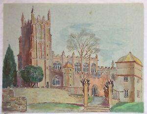 St James Church Chipping Campden - Watercolour & Pencil Painting G. Birch 1974