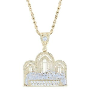 """Yellow Gold Cubic Zirconia Last Supper Men's Necklace 20 1/4"""" - 10k Faith Bling"""