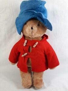 Vintage Eden Paddington Bear Plush Stuffed Animal Red Blue Felt Hat Jacket