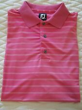 Footjoy Fj Men's Golf Polo S/S Shirt Xlarge Pink/White Stripes Euc