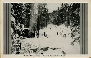 Snow Skiers Winter Playgrounds West of Roswell New Mexico NM Postcard A32