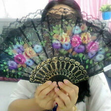 EG_ Spanish Floral Fabric Lace Folding Hand Dancing Wedding Party Decor Fan Heal