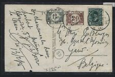 BELGIUM (P1202B)  POSTAGE DUE 1.2FR+20C ON INCOMING PPC FROM EGYPT
