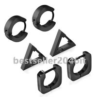 3Pairs Stainless Steel Triangle Square Round Hoop Huggie Earrings for Men Women