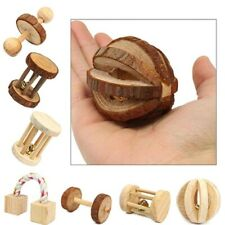 New ListingHot Sale CuteWooden Rabbits Toys Pine Dumbells Unicycle Bell Roller Chew Toys