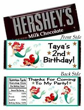 12 The Little Mermaid Ariel Birthday Party Baby Shower Hershey Candy Bar Wrapper