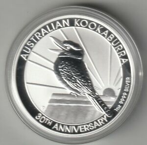 2020 30th Anniversary Australian Kookaburra Silver GEM Bullion Coin, 1 Troy OZ