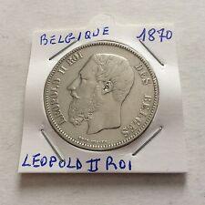 1 pièce de 5 F en argent Léopold II Roi des belges SPL 1870